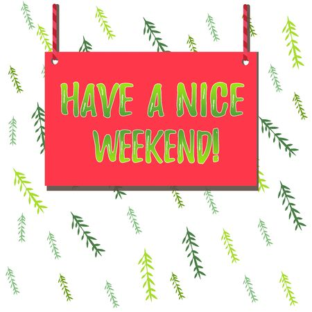 Handwriting text Have A Nice Weekend. Conceptual photo wishing someone that something nice happen holiday Wooden board wood rectangle shape empty frame fixed colorful striped string 版權商用圖片