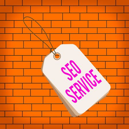 Text sign showing Seo Service. Business photo text techniques and procedures to increase the website visibility Label rectangle empty badge attached string colorful background tag small