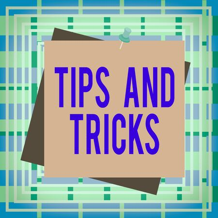 Text sign showing Tips And Tricks. Business photo text piece of inside facts specially in betting or investing Reminder color background thumbtack tack memo attached office pin square 版權商用圖片