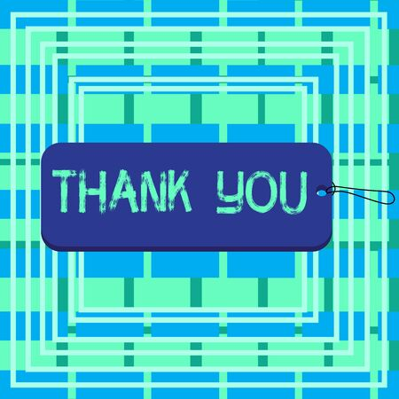 Text sign showing Thank You. Business photo showcasing a polite expression used when acknowledging a gift or service Label tag badge rectangle shaped empty space string colorful background