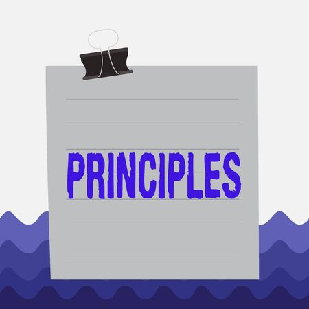 Conceptual hand writing showing Principles. Concept meaning fundamental truth that serves as the base for a system of belief Paper lines binder clip suare notebook color background