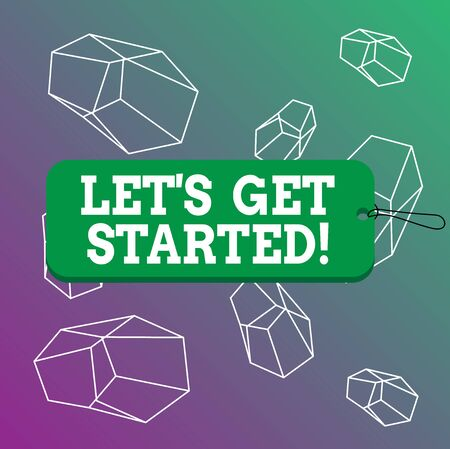 Word writing text Let Get Started. Business photo showcasing encouraging someone to begin doing something Label tag badge rectangle shaped empty space string colorful background 版權商用圖片