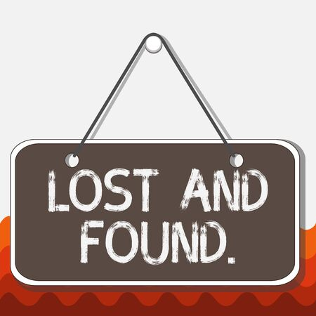 Conceptual hand writing showing Lost And Found. Concept meaning a place where lost items are stored until they reclaimed Memo reminder empty board attached background rectangle