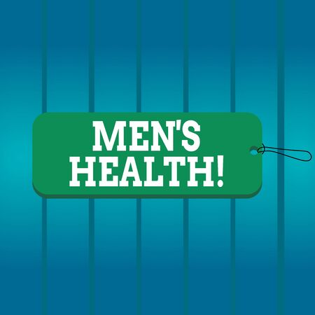 Writing note showing Mens Health. Business concept for state of complete physical mental and social well being by man Label tag badge rectangle shaped empty space string colorful background