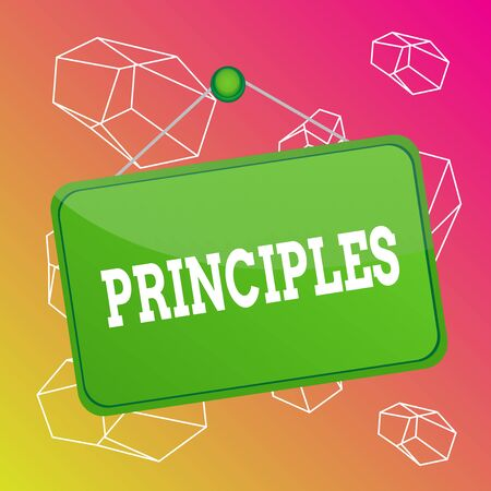 Word writing text Principles. Business photo showcasing fundamental truth that serves as the base for a system of belief Colored memo reminder empty board blank space attach background rectangle