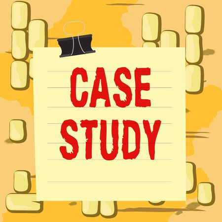 Word writing text Case Study. Business photo showcasing man and a specific research design for examining a problem Paper lines binder clip cardboard blank square notebook color background