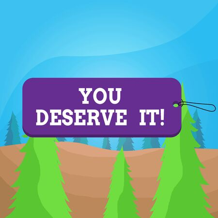 Word writing text You Deserve It. Business photo showcasing should have it because of their qualities or actions Label tag badge rectangle shaped empty space string colorful background