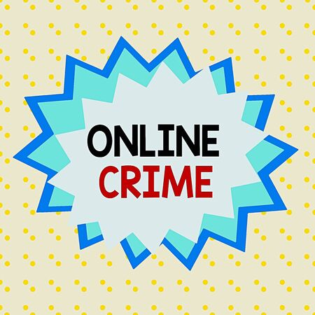 Writing note showing Online Crime. Business concept for crime or illegal online activity committed on the Internet Asymmetrical uneven shaped pattern object multicolour design