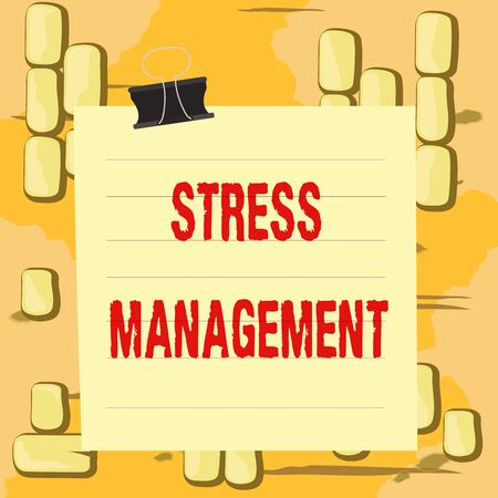 Word writing text Stress Management. Business photo showcasing method of limiting stress and its effects by learning ways Paper lines binder clip cardboard blank square notebook color background
