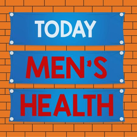 Text sign showing Mens Health. Business photo text state of complete physical mental and social well being by man Wooden panel attached nail colorful background rectangle lumber plank wood