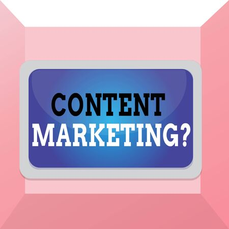 Conceptual hand writing showing Content Marketing question. Concept meaning involves creation and sharing of online material Board rectangle white frame empty fixed color surface plank