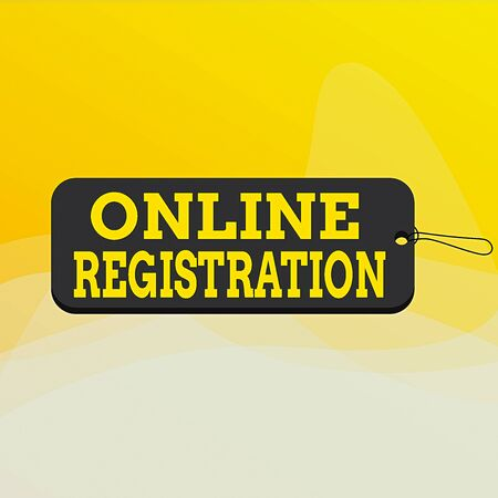 Writing note showing Online Registration. Business concept for System for subscribing or registering via the Internet Label tag badge rectangle shaped empty space string colorful background Stok Fotoğraf