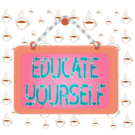 Writing note showing Educate Yourself. Business concept for prepare oneself or someone in a particular area or subject Board fixed nail frame colored background rectangle panel Stockfoto