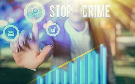 Handwriting text writing Stop Crime. Conceptual photo the effort or attempt to reduce and deter crime and criminals