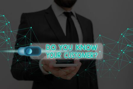 Writing note showing Do You Know Your Customer Question. Business concept for service identify clients with relevant information 版權商用圖片