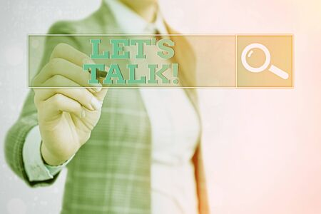 Word writing text Let Is Talk. Business photo showcasing suggesting in the beginning of a conversation on the topic