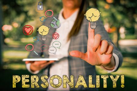 Text sign showing Personality. Business photo showcasing combination characteristics that form individuals character