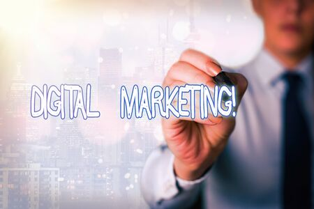 Word writing text Digital Marketing. Business photo showcasing market products or services using technologies on Internet