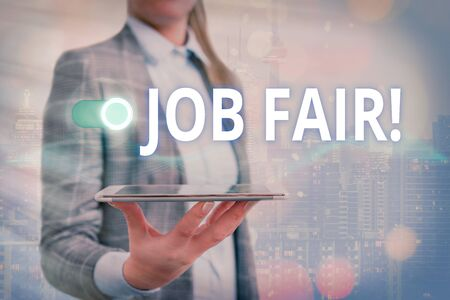Text sign showing Job Fair. Business photo showcasing event where employers offer information about their companies