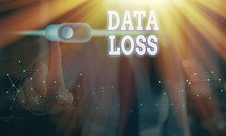 Conceptual hand writing showing Data Loss. Concept meaning process or event that results in data being corrupted and deleted
