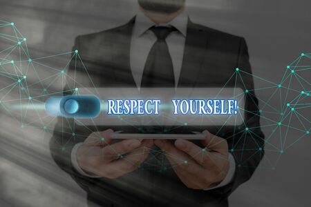 Conceptual hand writing showing Respect Yourself. Concept meaning believing that you good and worthy being treated well