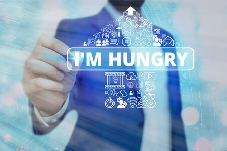 Text sign showing I M Hungry. Business photo text having a strong wish or desire for something to put on stomach
