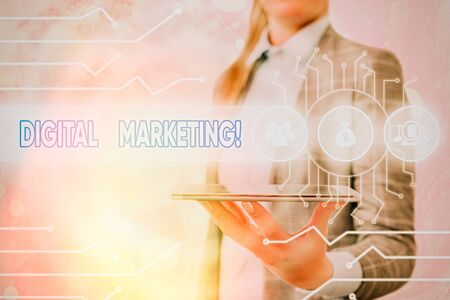 Conceptual hand writing showing Digital Marketing. Concept meaning market products or services using technologies on Internet 版權商用圖片