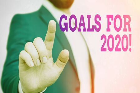 Text sign showing Goals For 2020. Business photo showcasing object of demonstratings ambition or effort aim or desired result