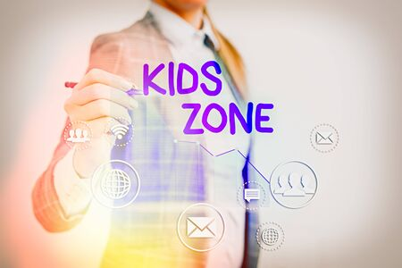 Conceptual hand writing showing Kids Zone. Concept meaning An area or a region designed to enable children to play and enjoy