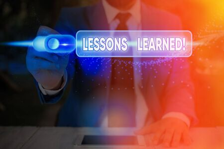 Text sign showing Lessons Learned. Business photo showcasing experiences distilled project that should actively taken Banque d'images