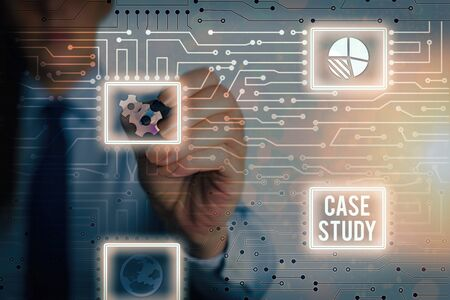 Word writing text Case Study. Business photo showcasing analysis and a specific research design for examining a problem Banco de Imagens