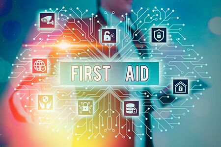 Writing note showing First Aid. Business concept for Practise of healing small cuts that no need for medical training Stockfoto