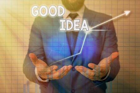 Text sign showing Good Idea. Business photo showcasing an excellent suggestion and plan for achieving something Standard-Bild