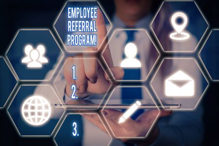 Word writing text Employee Referral Program. Business photo showcasing internal recruitment method employed by organizations