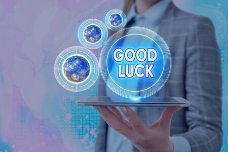 Conceptual hand writing showing Good Luck. Concept meaning wish a positive fortune or a happy outcome that a demonstrating can have