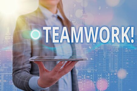 Text sign showing Teamwork. Business photo showcasing combined action of group especially when effective and efficient Imagens