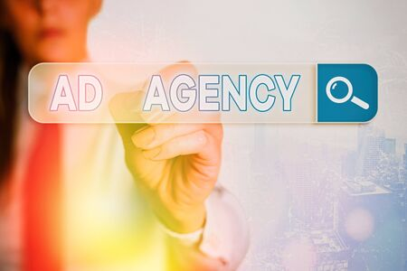 Word writing text Ad Agency. Business photo showcasing business dedicated to creating planning and handling advertising
