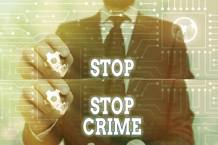 Handwriting text Stop Crime. Conceptual photo the effort or attempt to reduce and deter crime and criminals 版權商用圖片