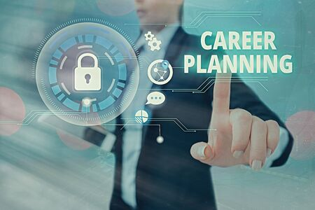 Text sign showing Career Planning. Business photo text Strategically plan your career goals and work success Stock fotó