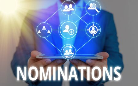 Text sign showing Nominations. Business photo showcasing the act of officially suggesting someone for a job or position