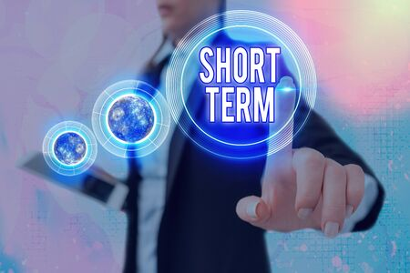 Writing note showing Short Term. Business concept for occurring over or involving a relatively short period of time