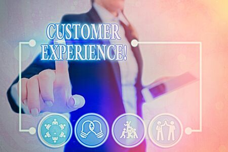 Conceptual hand writing showing Customer Experience. Concept meaning product of interaction between organization and buyer