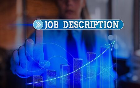 Text sign showing Job Description. Business photo text a formal account of an employee is responsibilities