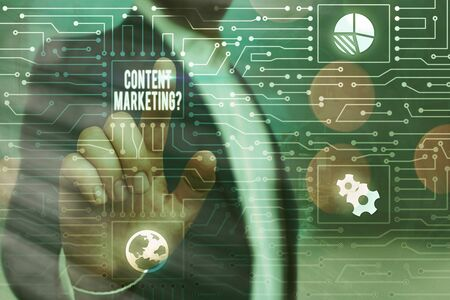 Text sign showing Content Marketing question. Business photo showcasing involves creation and sharing of online material Stok Fotoğraf