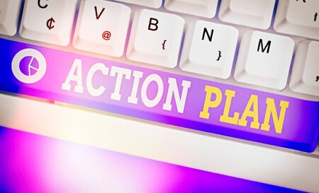 Text sign showing Action Plan. Business photo showcasing detailed plan outlining actions needed to reach goals or vision 版權商用圖片 - 143903396