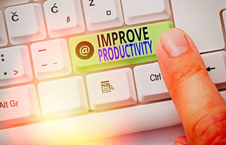 Word writing text Improve Productivity. Business photo showcasing to increase the machine and process efficiency