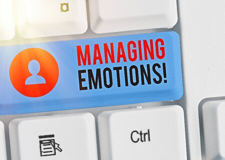 Word writing text Managing Emotions. Business photo showcasing ability be open to feelings and modulate them in oneself Banque d'images