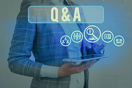 Text sign showing Q And A Question. Business photo text in which demonstrating asks questions and another one answers them