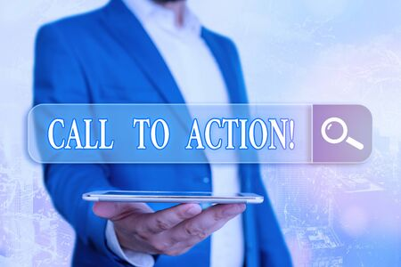 Text sign showing Call To Action. Business photo showcasing exhortation do something in order achieve aim with problem