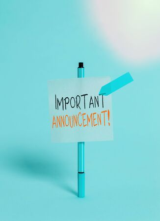Conceptual hand writing showing Important Announcement. Concept meaning spoken statement that tells showing about something Ballpoint sticky note arrow banner peaceful cool background 版權商用圖片
